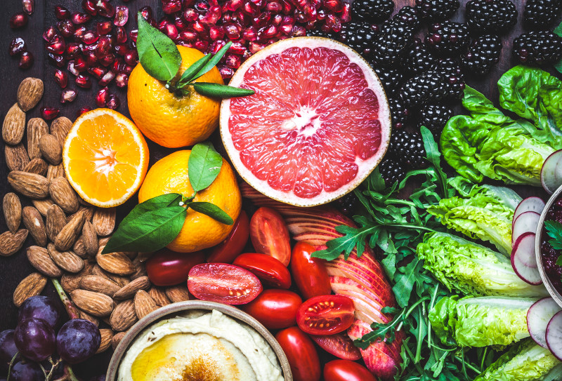 Photo of fresh fruit, vegetables, and nuts