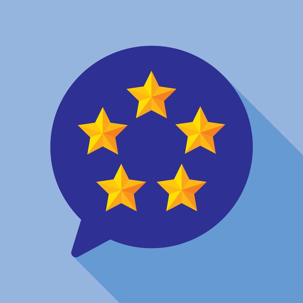 Five star speech bubble round icon