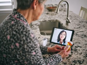 Senior Woman on a Virtual Doctor Visit