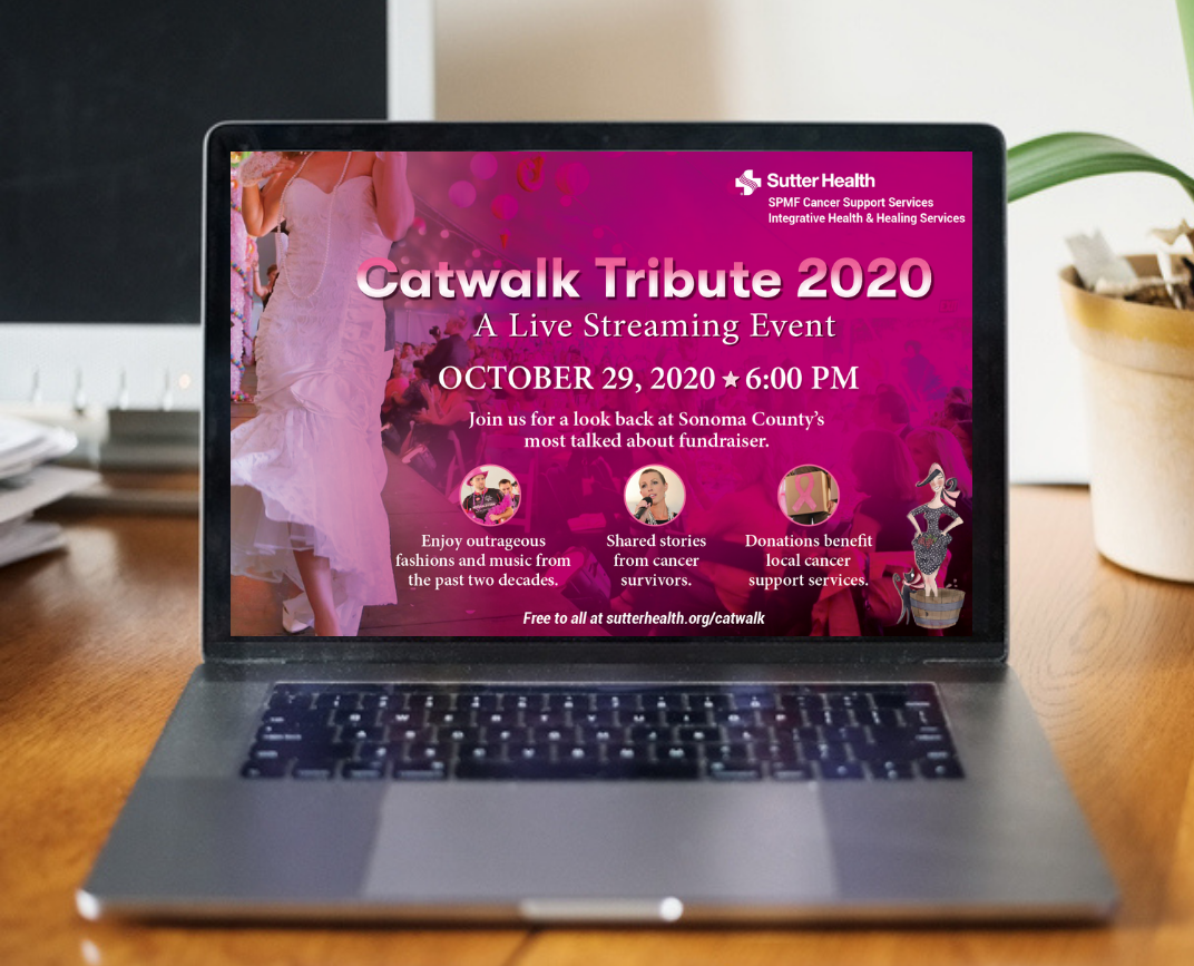 Catwalk for a Cure landing page on laptop screen