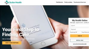 Sutter Health website homepage with a symptom checker