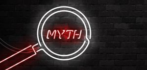 Vector realistic isolated neon sign of Myth with magnifying glass for template decoration on the wall background.