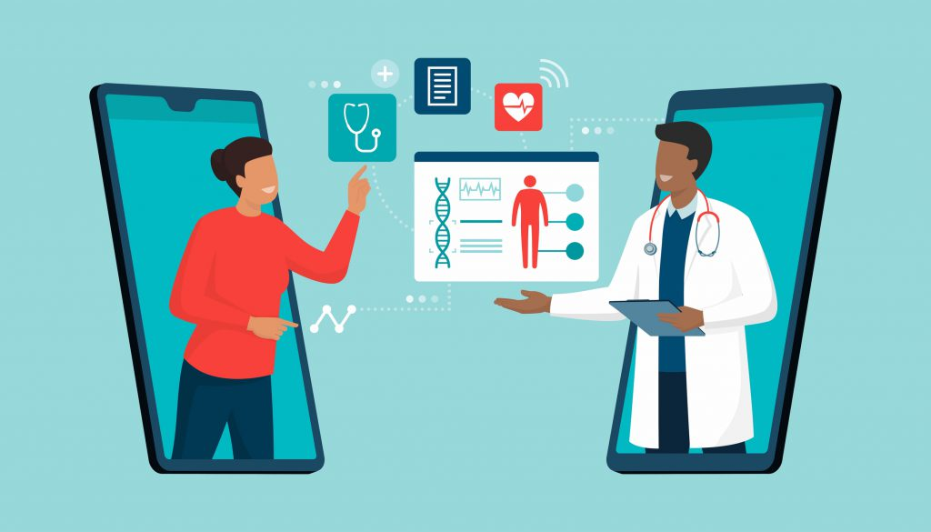 Illustration of online doctor and telemedicine: woman connecting with a doctor online using a smartphone app and having a professional medical consultation