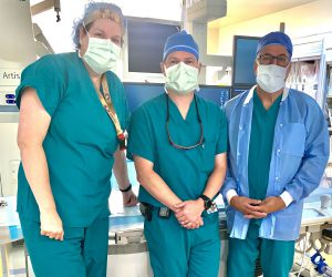 Cancer physician and team