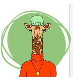 Giraffe wearing a beanie, turtleneck and medallion illustration icon used for Scout by Sutter Health platform