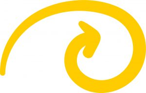 Yellow swirl illustration used in youth mental health platform Scout by Sutter Health