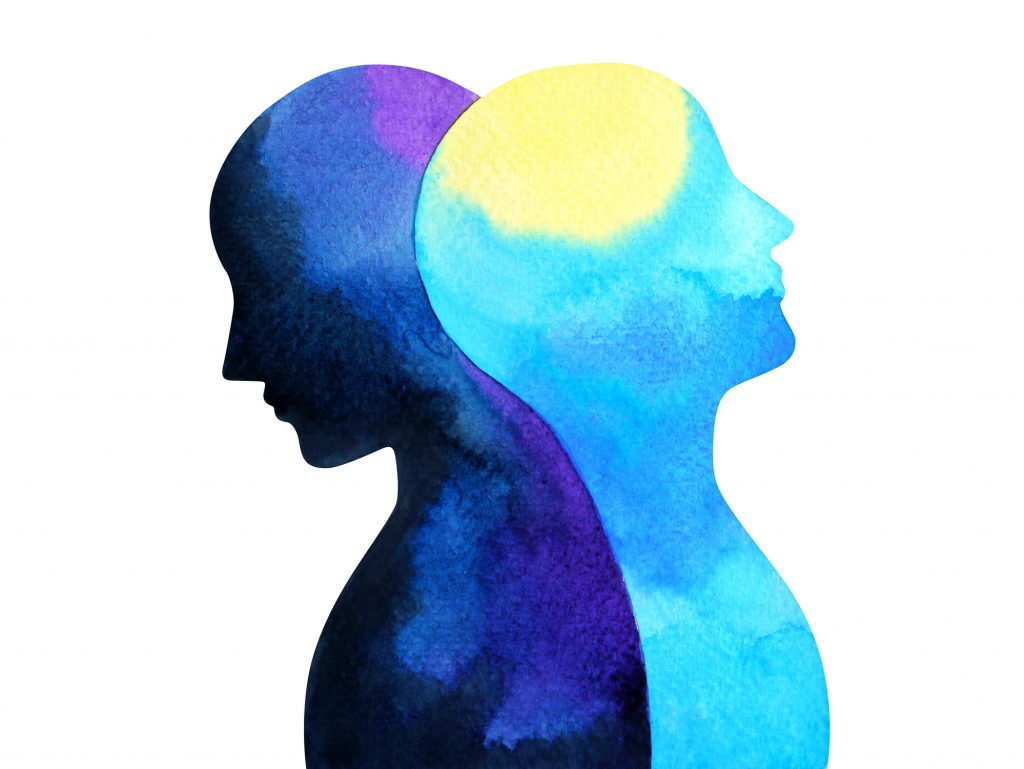 Blue, purple and yellow watercolor painting illustration showing two human figures leaning against each other back to back