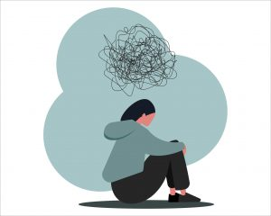 Depressed young person looking isolated with scribbly thought cloud above them vector illustration in flat style