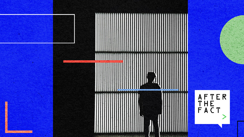 Digital graphic showing outline of human image in front of window blinds and other assorted circles, rectangles and lines