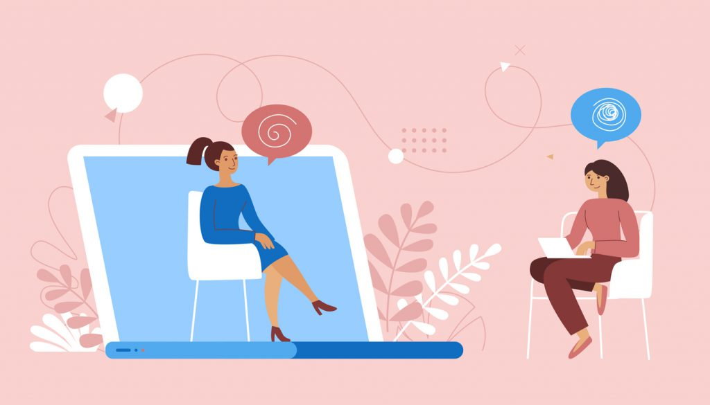 Vector illustration in flat simple style - online healthcare consult doctor and her patient having video call
