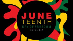 Juneteenth graphic image with simple typography on a splash of abstract designs in national colors
