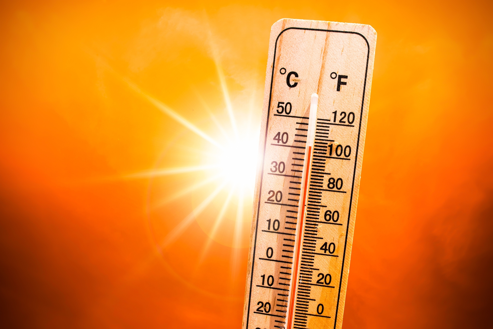 Thermometer and scorching sun