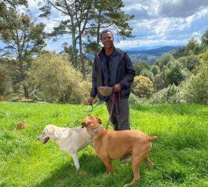 Dr. Willie Ross Walking his two dogs