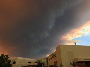 Fire smoke looms immediately behind Sutter Lakeside Hospital