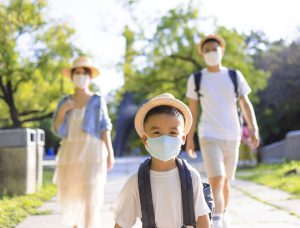 Happy Asian family with mom dad and son wearing the medical mask and walking in the park