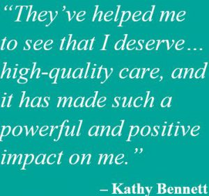 Kathy Bennett pull quote with teal background and white text